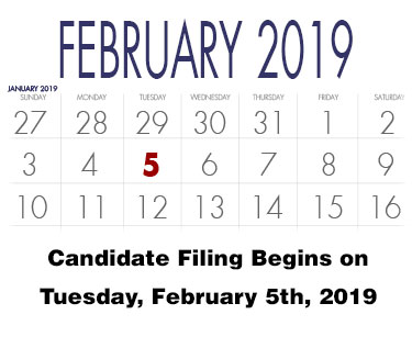 Candidate Filing Begins for 2020 Elections on February 5th, 2019