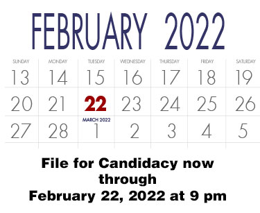 Candidate filing for the 2018 election is February 28, 2018 at 9 pm.