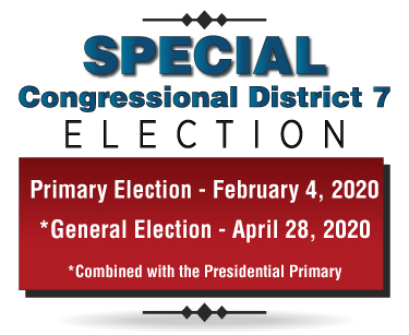 The 2020 special congressional district 7 primary election will be held on February 4, 2020 and the special general election will be held on April 28, 2020. The special general election will be combined with the Presidential Primary election.