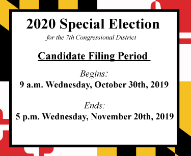 Candidate Filing for the 2020 special congressional district 7 election began on October 30, 2019 and ends on November 20, 2019